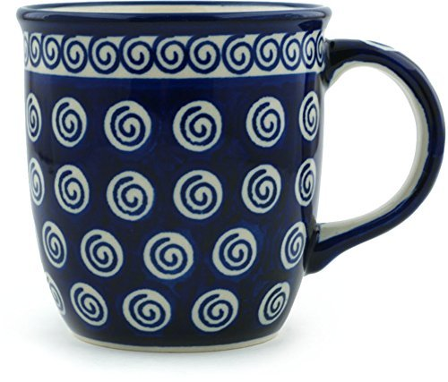 Polish Pottery Mug 12 oz Cobalt Swirl (Pottery Polish Large Mug)
