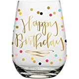 Birthday Wine Glass - 20 oz Happy Birthday Stemless Wine Glass (Multicolor Confetti, Perfect Birthday Gift)