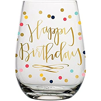 Amazon.com | Birthday Wine Glass - 20 Oz Happy Birthday Stemless ...
