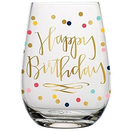 birthday wine glass 20 oz happy birthday stemless wine glass multicolor confetti perfect - Happy Birthday Wine Glass