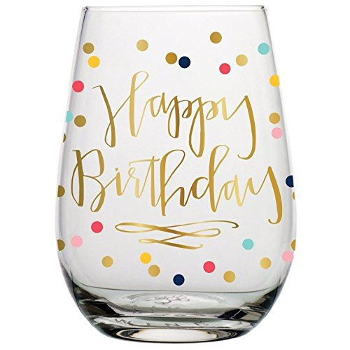 Birthday Wine Glass - 20 oz Happy Birthday Stemless Wine Glass (Multicolor Confetti, Perfect Birthday Gift) by Slant