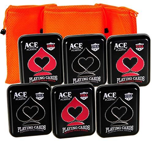 (Ace Casino 100% Plastic Playing Cards in Tin    6 Decks    Bonus 3 Orange Mesh Drawstring Storage Pouches    Bundled Items)