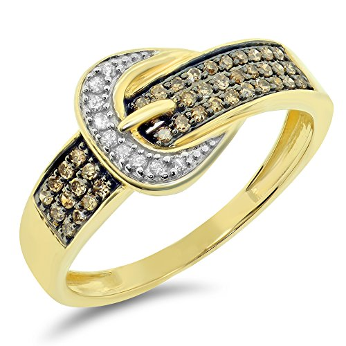 0.25 cttw 10k 2 Two Tone Gold Brown White Round Diamond Ladies Champagne Belt Buckle Ring Fashion Band - Yellow-gold, Size 10.5 - Yellow Gold Belt Buckle