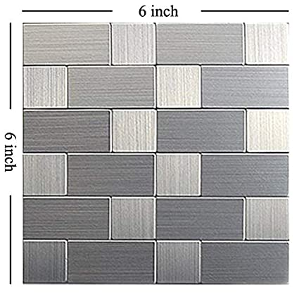 Hometile Mosaic Peel And Stick Tile Mosaics For Kitchen Backsplashes Metal Brushed Aluminum Backsplash Tile Peel And Stick Tile Kitchen Tile For