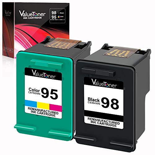 Valuetoner Remanufactured Ink Cartridge Replacement for HP 98 C9364WN & 95 C8766WN for Officejet 150 100 6310, PhotoSmart 8050 C4180 C4150, Deskjet 460 5940 Printer (1 Black, 1 Tri-Color, 2 ()