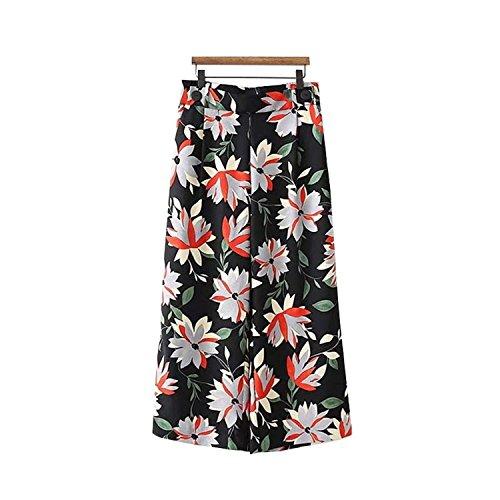 Kebinai Women Floral Print Wide Legs Pants Elastic Waist Pockets Ladies,Small,Aspicture (Yamamoto Print)