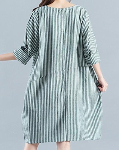 Confortables Femmes Linge Milieu De Longues Rayures À Manches Longues Robes Quotidiennes Tops Vert