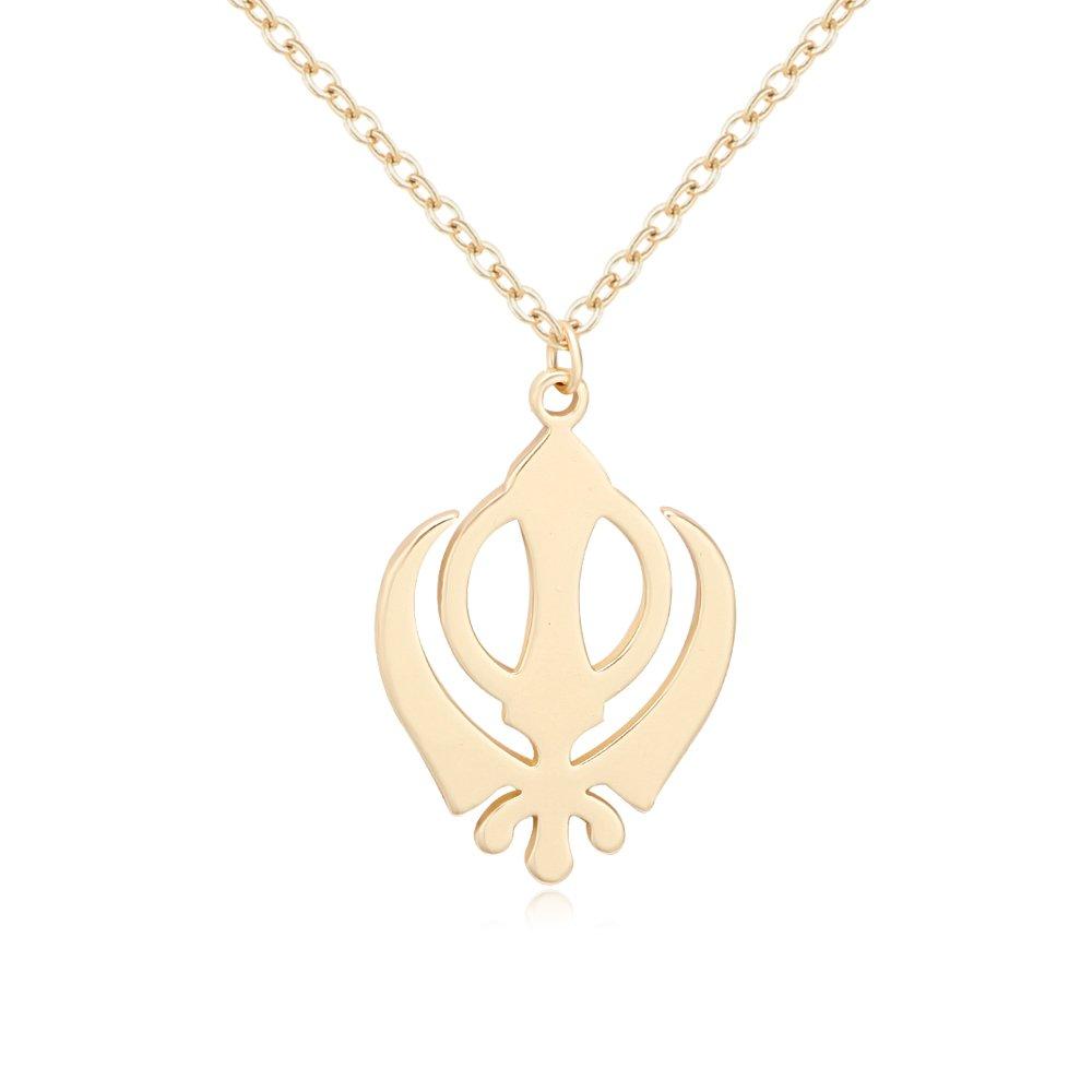 TUSHUO Sikh Khanda Neckalce Khanda Sikhism Pendant Necklace Religious Symbols Jewelry for Unisex (Gold)