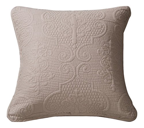 (DaDa Bedding Beige Euro Sham - Sand Dollar Taupe Floral Elegant - Accent Quilted Pillow Cover - Neutral Tan - 26