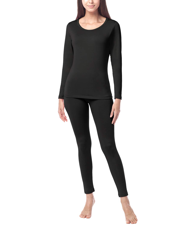 LAPASA Women's Midweight Thermal Underwear Long John Set Fleece Lined Base Layer Top & Bottom L41 (X-Small, Midweight Black) by LAPASA