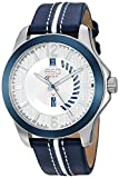 ESQ Men's ' Quartz Stainless Steel and Leather Casual Watch, Color:Blue (Model: 37ESQE09101A)