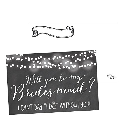 15 Will You Be My Bridesmaid Cards Chalkboard, I Can't Say I Do Without You, Rustic Proposal Note Cards For Gifts, Blank Chalk Ask To Be Your Bridesmaids Invitations Set, Asking A Bridesmaid Invite