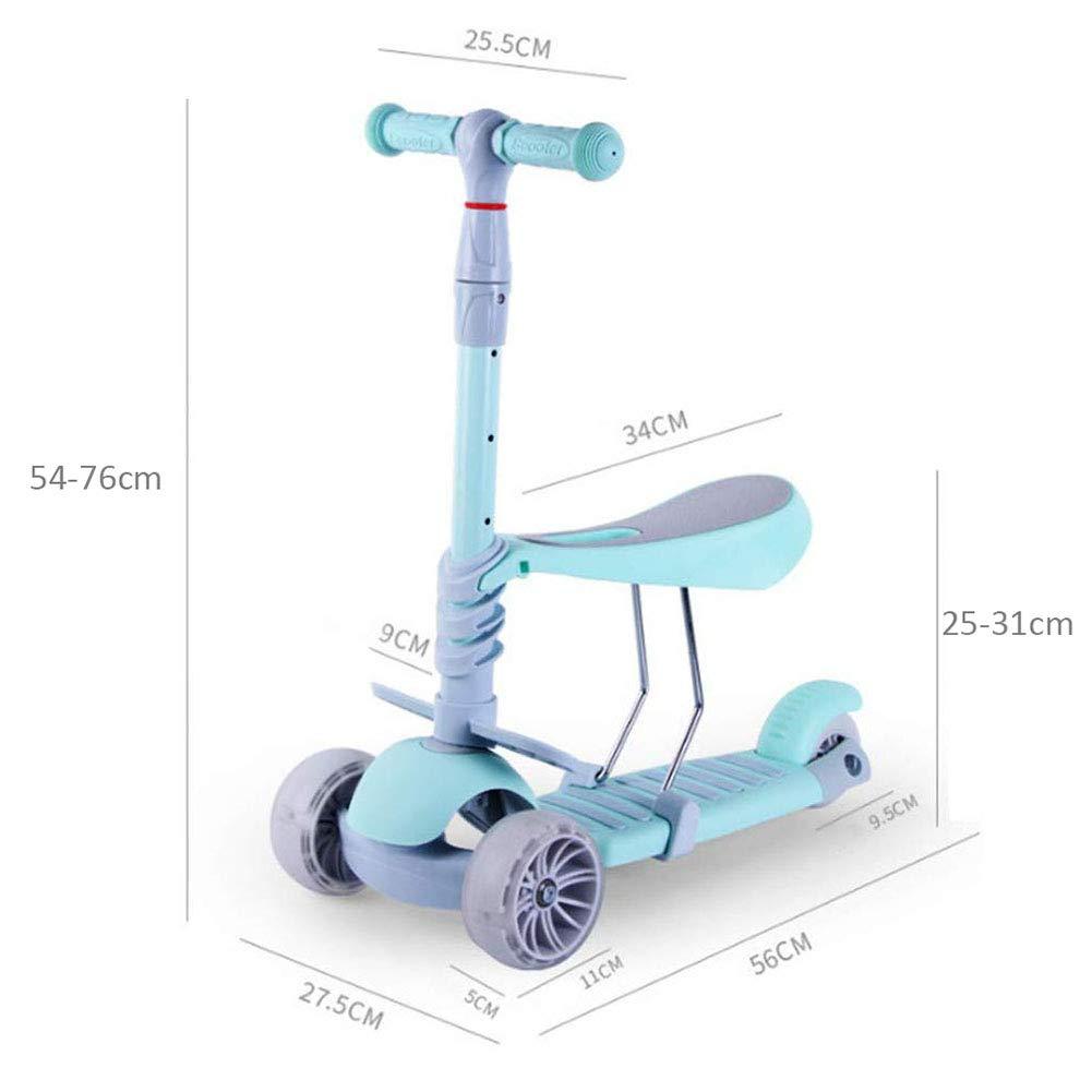 adapt/é pour 2-9 Enfants ZCPDP Trottinette 3 en 1 Scooter /à 3 Roues R/églable en Hauteur,Trottinette 3 Roues Trottinette /à Trois Roues,avec si/ège r/églable,avec Roue Flash en PU