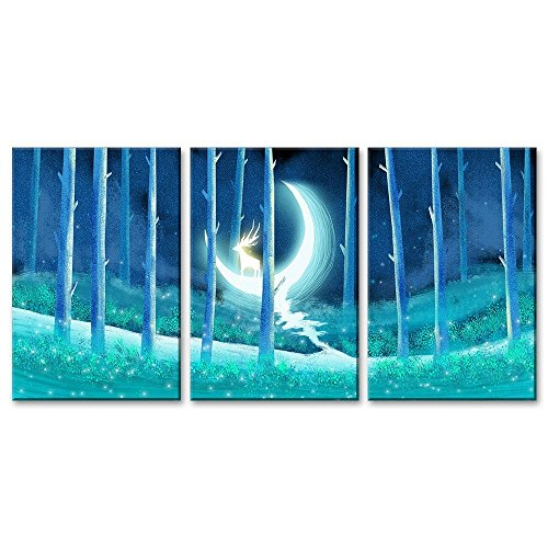 3 Panel Animal Fantasy Oil Painting Style Deer on the Crescent Moon in the Woods Gallery x 3 Panels