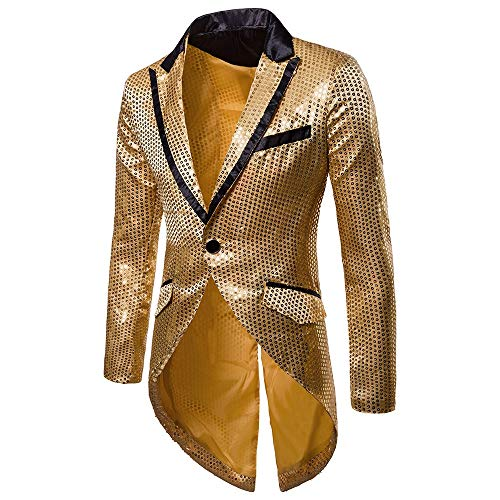 Fullfun Mens Tails Fashion One Button Slim Fit Tailcoat Sequin Dress Coat Swallowtail Party Top Wedding Blazer Jacket (L2, Gold) -