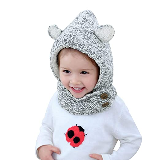bc1b0b186eb Baby Warm Winter Crochet Hat Toddler Pom Pom Earflap Cap with Neck Scarf  1-3Years