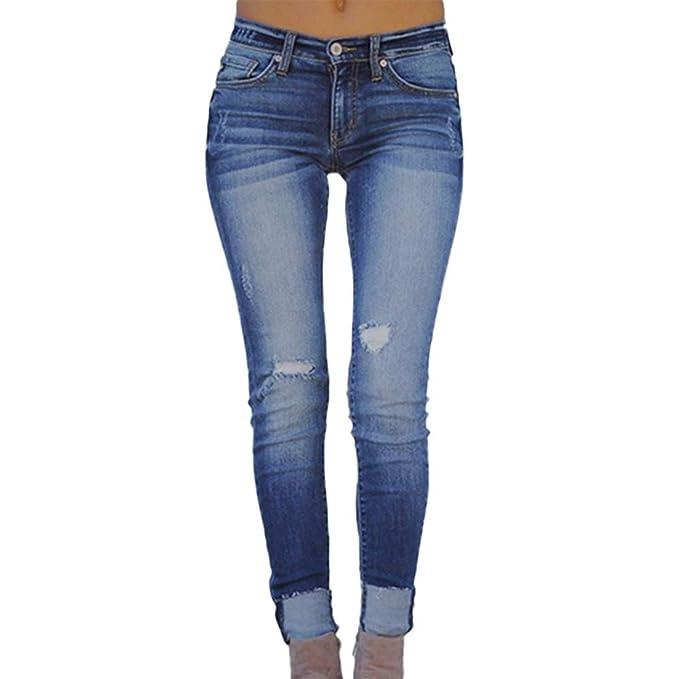 STRIR Jeans Skinny Push-Up Mujer Vaqueros Rotos 8d0fb0715ebe