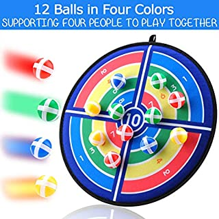 Fabric Dart Board Game Set for Kids and Adult Fashion Pattern with 12 Hook and Loop Sticky Balls Family Fun Best Toy Gift Boys and Girls Indoor Outdoor Classic Games Diameter 14.2 Inches