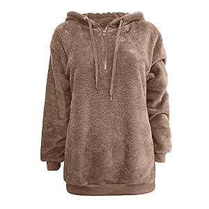 Solid Color Pocket Hoodies, Women Hooded Sweatshirt Coat Winter Warm Wool Zipper Pockets Cotton Coat Outwear