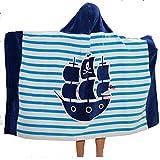AteAte Cute Cartoon Baby Kid's Hooded Bath Towel Toddler Boy Girls Beach Towel New 100% Cotton 400 GSM(Pirate)