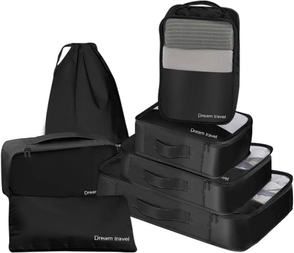 yidenguk Kit de 7 Organisateurs de Voyage Cube demballage Sacs de Rangement pour V/êtement Chaussures Cosm/étique /étanche Organisateur de Valise Emballage en Cube Voyage Bagages Organisateur Noir