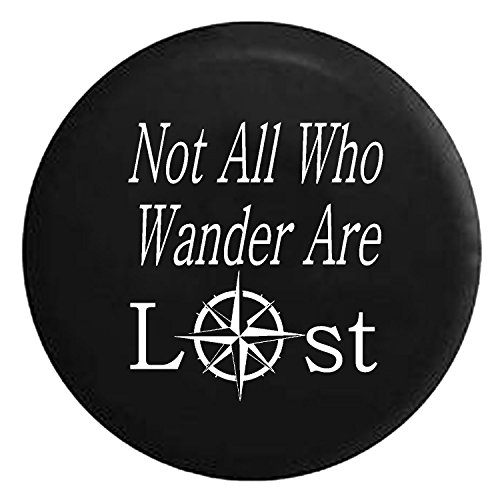 Not All Who Wander Are Lost - Sea Compass Spare Jeep Wrangler Camper SUV Tire Cover White Ink 33 in