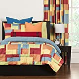 master bedroom paint colors 3 Piece Multi Color Paint Box Graphic Printed Comforter Set Full Queen, Blue Green Orange Red Yellow Color Block Geometric Shapes Adult Bedding Master Bedroom Colorful Contemporary Modern, Polyester