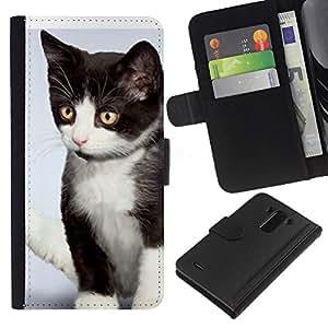 eJoy---La carpeta del tirón la caja de cuero de alta calidad de la PU Caso protector - LG G3 - --Kitten Mutt Mongrel American Wirehair