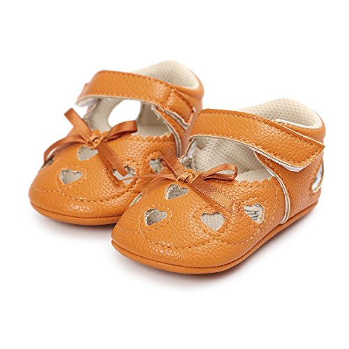 Meckior Infant Baby Girls Sandas Summer Soft Leather No-Slip Princess Shoes (0-6 Months, A-Yellow)