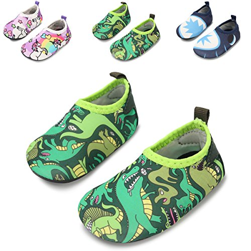 JIASUQI Baby Outdoor and Indoor Fashion Casual Water Skin Shoes Socks For Beach Sand Swim Surf,Dino Green 12-18 - Beach Baby