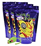 WildSide Wild Alaskan Freeze Dried Salmon USA MADE 3oz Cat Treats (3 Pk) + Mouse