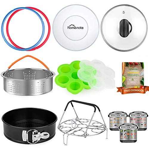 HOMENOTE Pressure Cooker Accessories Compatible with Instant Pot 6qt Only - Steamer Basket, Sealing Rings, Silicone Lid, Tempered Glass Lid, Springform Pan, Egg Rack, Egg Bites Mold and Cheat Sheets