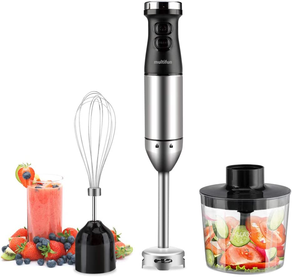 Immersion Blender, Multifun Ultra-Stick Powerful Turbo 9-Speed Multi-Purpose Hand Blender with Heavy Duty Copper Motor, Brushed 304 Stainless Steel with Whisk and 500ml Food Chopper, UL Certified