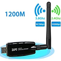 WiFi Adapter 1200Mbps, LinkStyle USB 3.0 WiFi Network Card Wireless Adapter Dual Band 2.4G 300Mbps 5.8G 867Mbps with Antennas for Desktop, Laptop, PC of Windows 7/8/8.1/10/XP/Vista/Linux