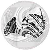 Pixels Round Beach Towel With Tassels featuring ''Marbled Music Art - French Horn - Sharon Cummings'' by Sharon Cummings