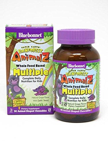 (Bluebonnet Super Earth Rainforest Animalz Multiple Chewable, Grape, 90 Count)