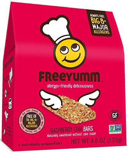 Gluten Free Dairy Free Granola Bars, FreeYumm Raspberry Chia Bars, Safe for School Allergen Free Snack Food for Kids, 15 Count