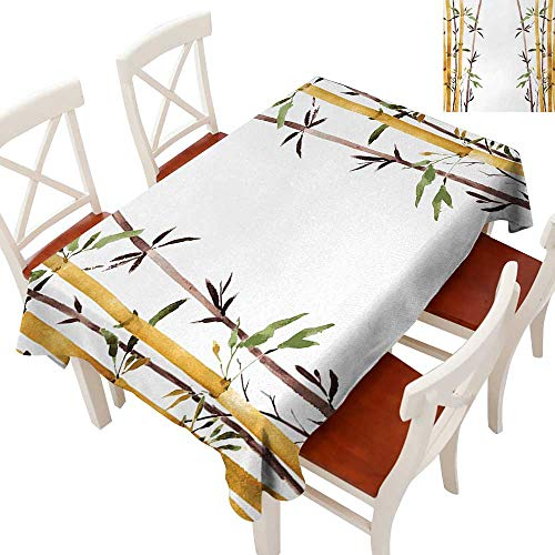 """Elegant Waterproof Spillproof Polyester Fabric Table Cover Tablecloths for Rectangle/Oblong/Oval Tables Bamboo Grove Calm Your Mind Slow Down Zen Relax Hand Drawn Style Artwork Cream Brown White 54"""""""
