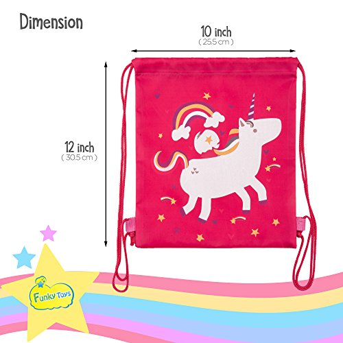 Funky Toys Unicorn Party Favor Bags - Pack of 12 Reusable Small Drawstring  Backpacks for Kids c56b22de789a
