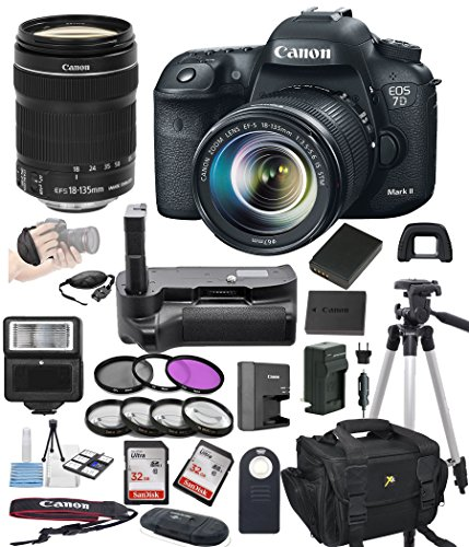 Canon EOS 7D Mark II Digital SLR Camera w/ EF-S 18-135mm STM Bundle includes Camera, Lenses, Filters, Bag, Memory Cards, Remote, Power Grip, Tripod ,and More - International (Expandable International Vertical Case)