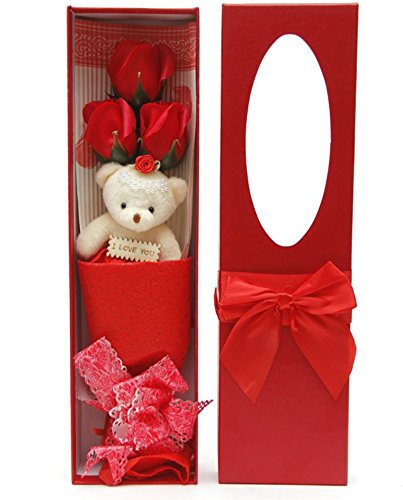 Romantic Red Flower Bouquet Scented Roses Gift Box With Cute Teddy Bear Best Anniversary Birthday Mother's Day Valentine's Gift sf0301A (Red Flowers For Valentines Day)