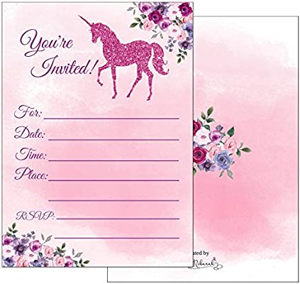 Magical Unicorn Party Invitations With Envelopes For Girls Kids Teen Birthday Invites Supplies Fill In Blank Style Sparkling