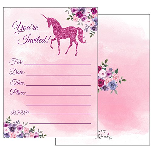 Magical Unicorn Party Invitations with Envelopes for Girls Kids Teen Unicorn Birthday Party Unicorn Party Invites Supplies- Fill in Blank Style Sparkling Pink Faux Glitter- Large 5x7 Set (25 Pack)