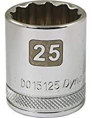 Dynamic Tools 1/2-Inch Drive 12 Point Metric, 25-Millimeter Standard Length, Chrome Finish Socket