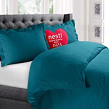 Nestl Bedding Duvet Cover, Protects and Covers your Comforter / Duvet Insert, Luxury 100% Super Soft Microfiber, King Size, Color Teal, 3 Piece Duvet Cover Set Includes 2 Pillow Shams