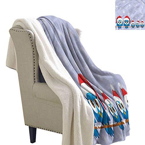 Jaydevn Christmas Cozy Flannel Blanket Fun Birds Santa Hats Fleece Blanket 60x47 Inch