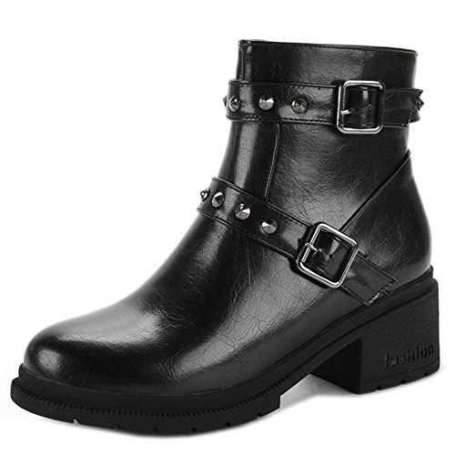 Black Bootie Boots Heels Winter Autumn KemeKiss Women Zipper wPqFH0