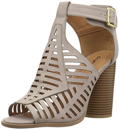 Qupid Women's Wood Heeled Sandal, Taupe Suede Polyurethane, 7 M US from Qupid