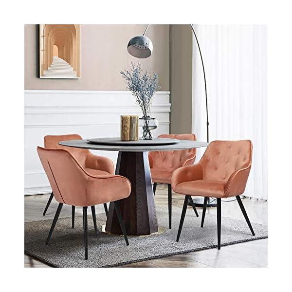 MEUBLE COSY Lot de 2 Chaise Salle a Manger Scandinaves en Velours Rose Fauteuil Salon Design avec Accoudoirs , Rose…