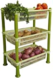 AWFER365 Rectangle Rack Premium Plastic 3 Steps Kitchen Rack Basket for Office Use and Sabji Basket Tray for Household, Multipurpose Storage & Onion, Potato and Vegetables Stand(Color May Vary)